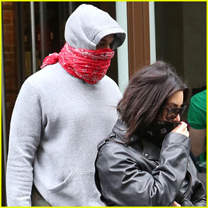 Kim Kardashian & Kanye West Cover Their Faces with Bandanas For Pre-Wedding Workout