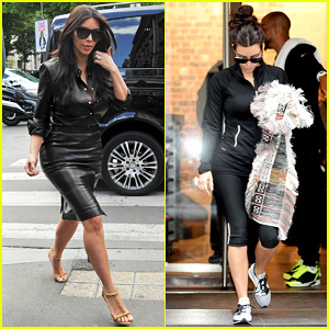Kim Kardashian Wears Tight Leather Dress for Pre-Wedding Shopping!