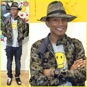Pharrell Williams Brings 'Happy' Face to Paris Art Gallery Opening!