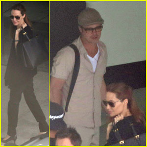 Angelina Jolie & Brad Pitt Catch a Flight Out of London