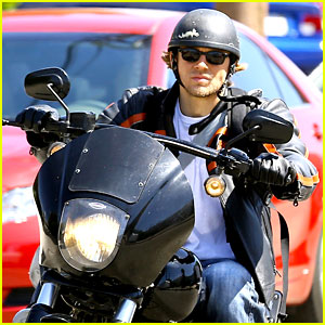 Charlie Hunnam Arrives to 'Sons of Anarchy' Set on a Motorcycle