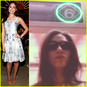 Emmy Rossum Rides the NYC Subway Before Sundance Institute Event!