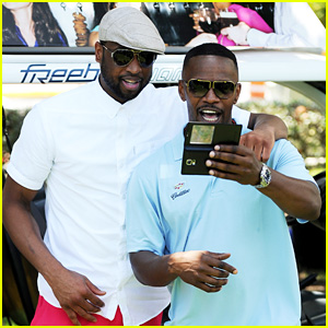 Jamie Foxx & Dwyane Wade Catch Up at Miami Celebrity Golf Tournament