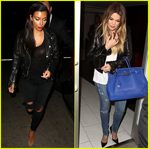 Kim & Khloe Kardashian Pack Up & Take Night Flights Out of LAX