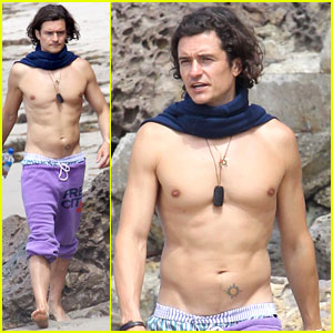 Orlando Bloom Goes Shirtless & Wears a Scarf at the Beach!