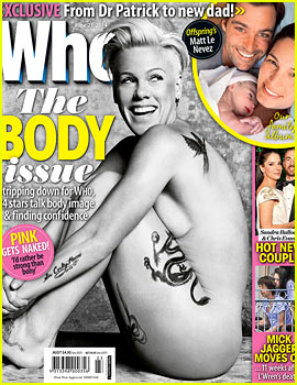 Pink Goes Completely Naked, Shows Lots of Side Boob for 'Who' Magazine