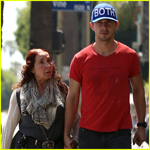 Shia LaBeouf Holds His Mom Shayna's Hand While Out to Lunch!