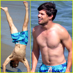Taylor Lautner Goes Shirtless for 'Run the Tide' Beach Scenes!