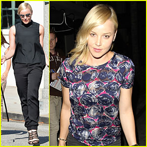 Abbie Cornish Shows Off Black Bra in Sheer Patterned Top
