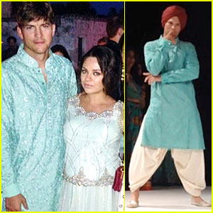 Ashton Kutcher Dons Turban at Indian Wedding With Mila Kunis!