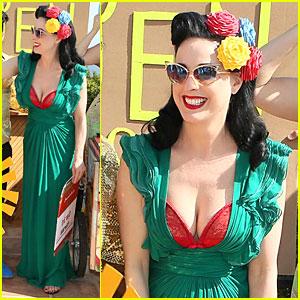 Dita Von Teese Flashes Red Bra in Plunging Green Dress at Garden & Art Party!