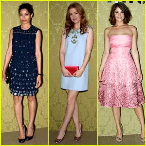 Freida Pinto & Isla Fisher Doll Up for Miu Miu Fashion Show