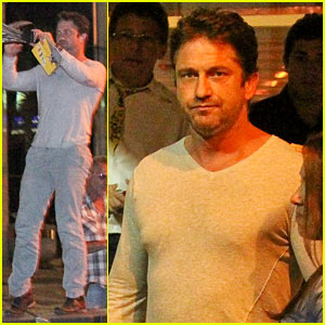 Gerard Butler Can't Get Enough of This Medieval Knight & Dragon Statue in