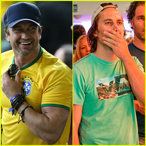 Gerard Butler & Taylor Kitsch Watch Germany Crush Brazil in World Cup Match