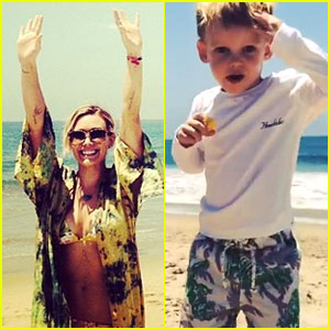Hilary Duff Chases the Sun with Her Son Luca at the Beach!