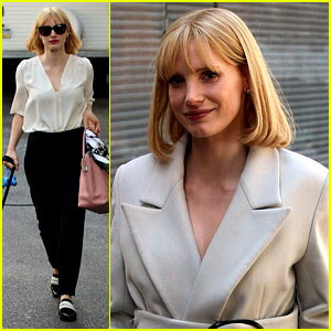 Jessica Chastain Gets Into Character with a Short Blonde Wig