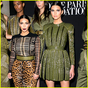 Kim Kardashian & Kendall Jenner Are Beautiful Balmain Babes for Paris Fashion Week!