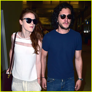 Game of Thrones' Kit Harington & Rose Leslie Keep Close at LAX