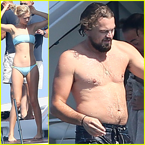 Leonardo DiCaprio Hangs Out Shirtless with Girlfriend Toni Garrn for Relaxing Yacht A
