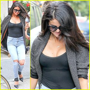 Selena Gomez Nearly Busts Out Of Her Tight Black