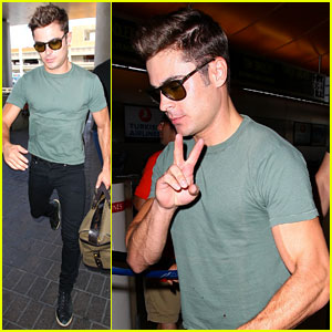 Zac Efron's Muscles Can't Be Ignored at LAX Airport