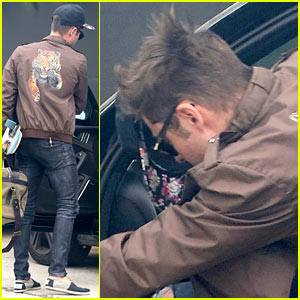 Zac Efron Spotted Leaving Michelle Rodriguez's Home with His Overn