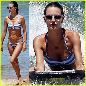 Bikini-Clad Alessandra Ambrosio Rides the Waves On Her Boogie Board