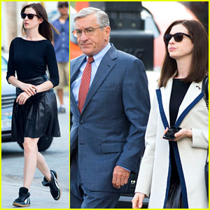 Anne Hathaway Continues Filming 'The Intern' with Robert De Niro