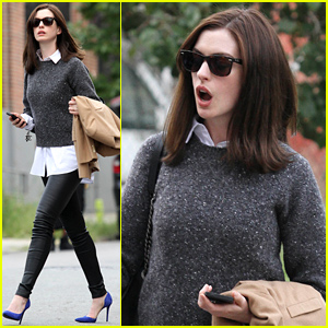 Anne Hathaway Gets a Shock on 'The Intern' Set