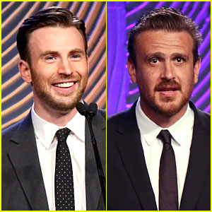 Chris Evans & Jason Segel Bring Suit & Tie to HFPA Grants Banquet