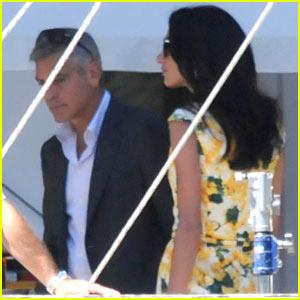 George Clooney Gets Visit from Fiancee Amal Alamuddin on Set!