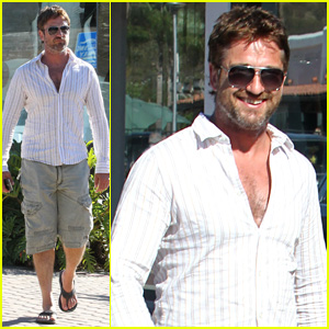 Gerard Butler Shows Off Chest Hair While Shopping in Malibu