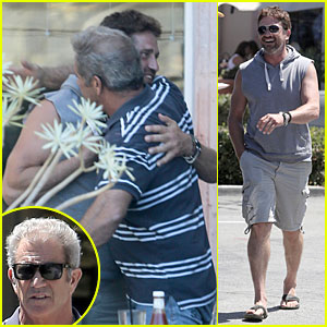 Gerard Butler & Mel Gibson Hug It Out at Lunch