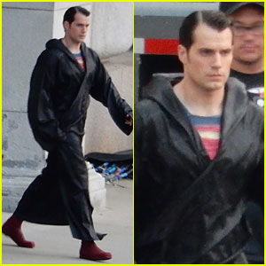 Henry Cavill Hides Superman Costume Under Robe on 'Bat