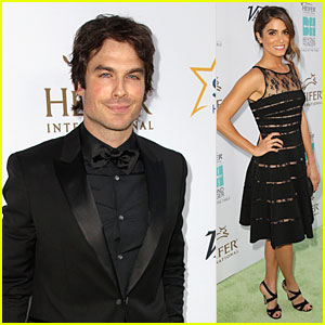 Ian Somerhalder & Girlfriend Nikki Reed Match in Black at Heifer Int