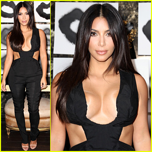 Kim Kardashian Rocks Super Sexy & Revealing Outfit at 'Violet Grey' Eve