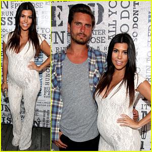 Kourtney Kardashian Accentuates Baby Bump in Tight Jumpsuit