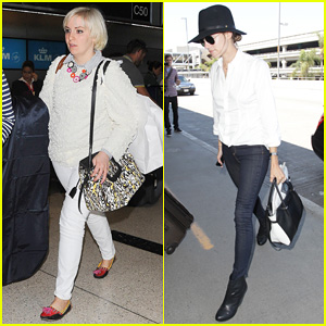 Girls' Lena Dunham & Allison Williams Jet Out of LAX After Eventful Emmy Awards 2014