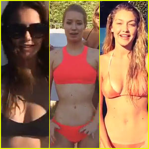 Nina Dobrev & Iggy Azalea Take the Ice Bucket Challenge While Wearing Bikinis - Watch Now!