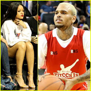 Rihanna Watches Chris Brown Play Basketball in Courtside Seat