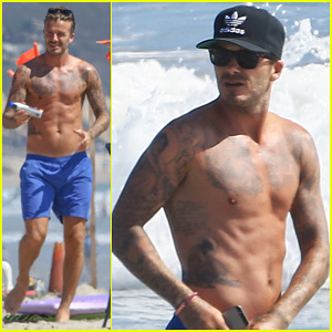 Shirtless David Beckham Shows Off His Amazing Body for Malibu Beach Dip!