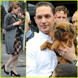 Tom Hardy Cuddles Another Pup on Set of 'Legend' in London