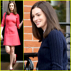 Anne Hathaway Gets Back to Work in a Cute Red Dress
