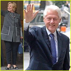 Bill & Hillary Clinton Visit Chelsea & Baby Charlotte at Hospital