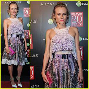 Diane Kruger Mixes Purple & Hot Pink at Instyle 20th Anniversary Party