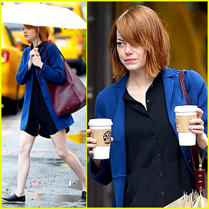 Emma Stone Braves the Rain to Grab Her