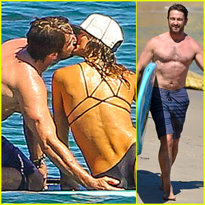 Gerard Butler Makes Out with His Mystery Girlfriend on the Water