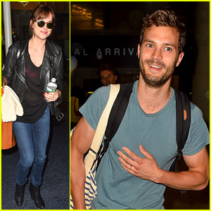 Jamie Dornan & Dakota Johnson Fly to Los