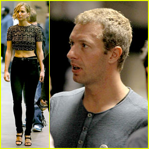 Jennifer Lawrence Joins Chris Martin Backstage at i
