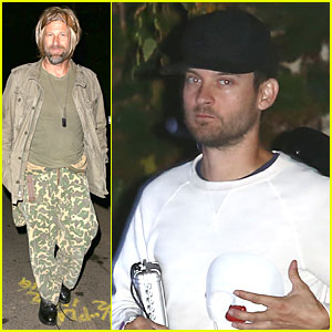 Aaron Eckhart & Tobey Maguire Get into Halloween Spirit at Kate Hudson's Party